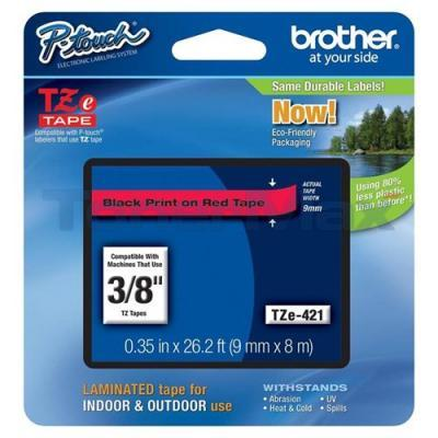 BROTHER TZ LAMINATED TAPE BLACK ON RED 0.35 IN X 26.2 FT